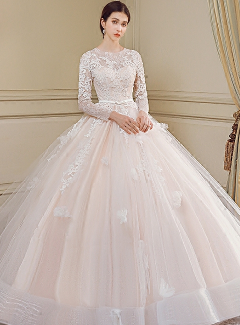 7f5a2884127fa3 Luxury Long Sleeve Tulle Appliques Long Train Wedding Dress ...