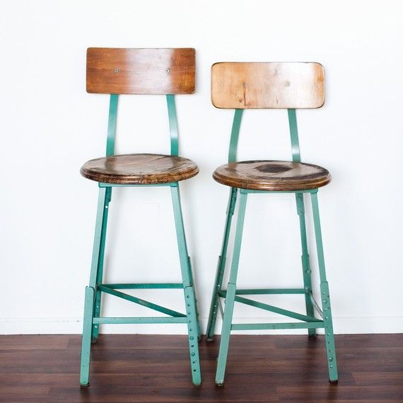 60s industrial shop chairs. Would look just perfect in a sharp kitchen www.collaborationinteriors.com