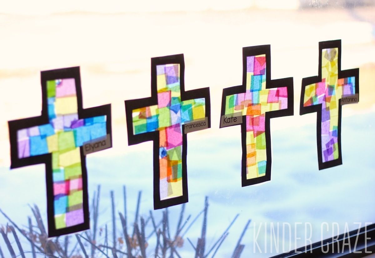 Stained Glass Cross Lenten Craft