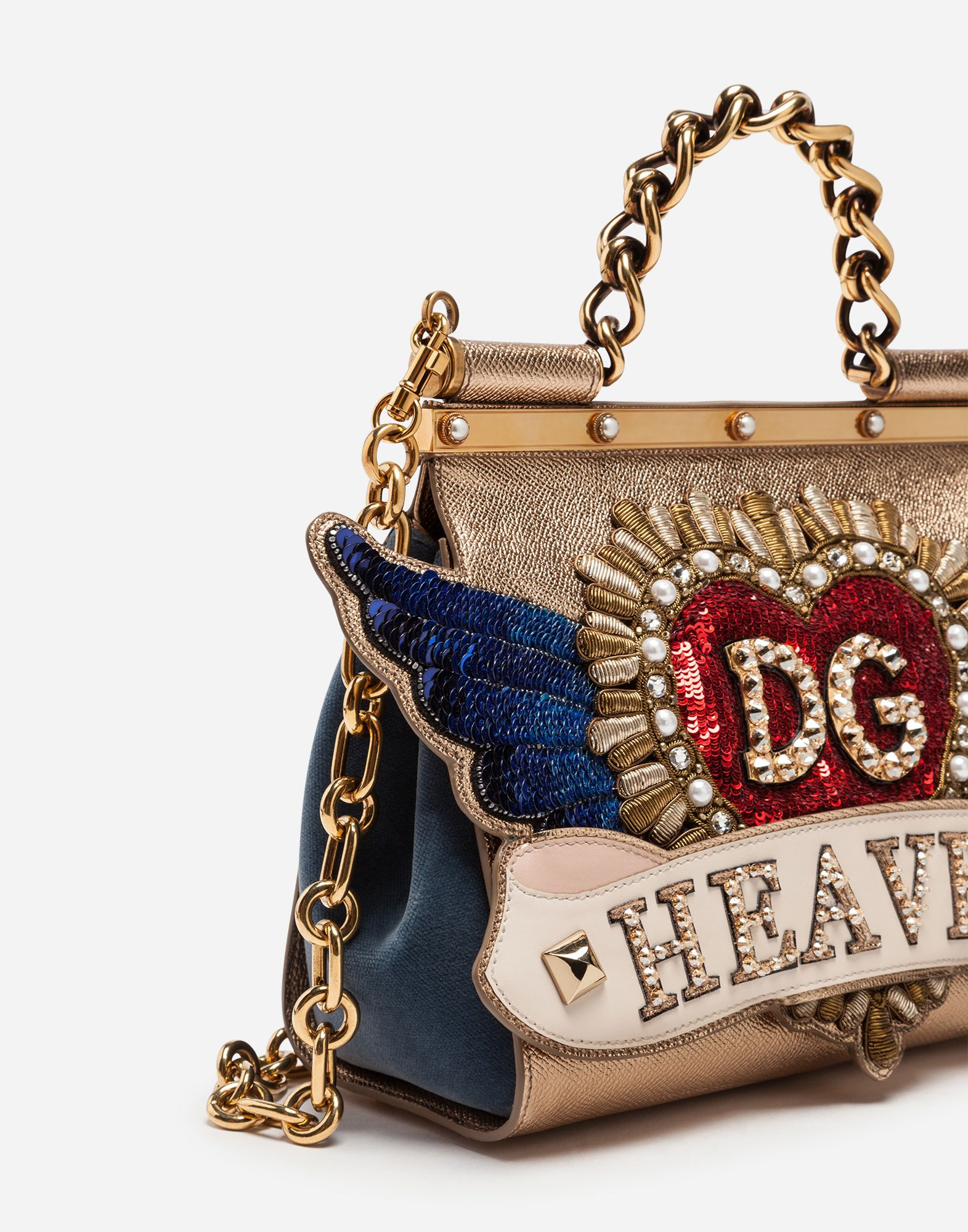 2797942ed8c1 Dolce Gabbana MEDIUM SICILY BAG IN A MIX OF MATERIALS WITH PATCH AND  EMBROIDERIES