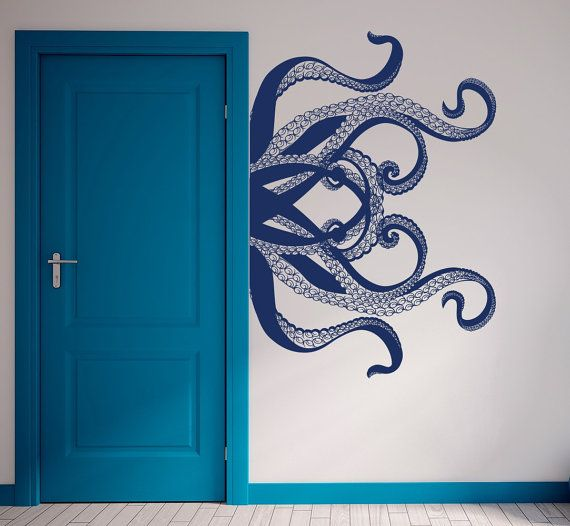 Photo of Large Octopus Wall Decal, Octopus Tentacles Decals, Nautical Decor, Ocean Animals Sticker, Kraken Octopus Tentacles Decal, Bathroom T44