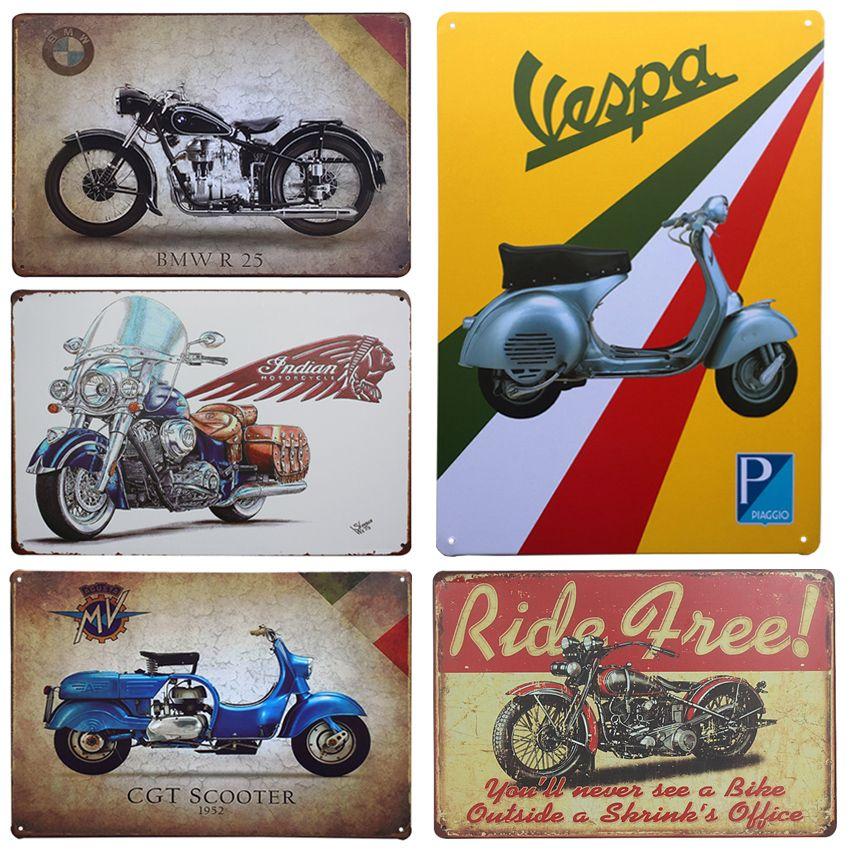 Hot Motorcycle Vintage Home Decor Tin Sign X Metal Sign Bar - Bmw motorcycle tin signs