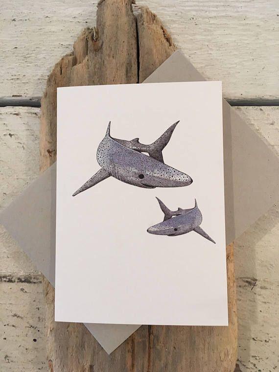 Shark Card Cornwall Shark Birthday Card Hand Drawn Card Blue