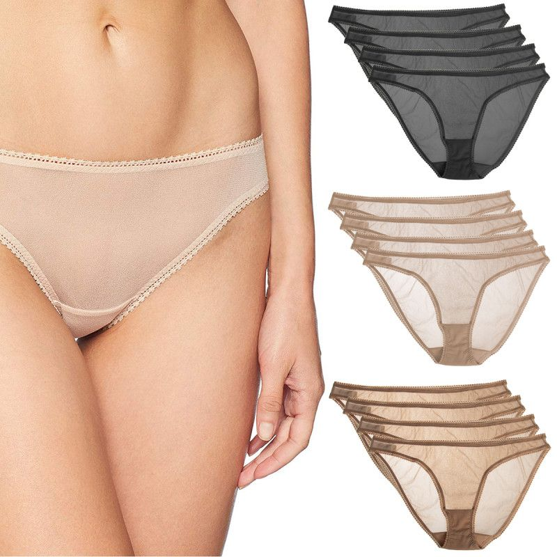 baefa092721 4 Pair OnGossamer Plus Size Bikini Lace Border Panties