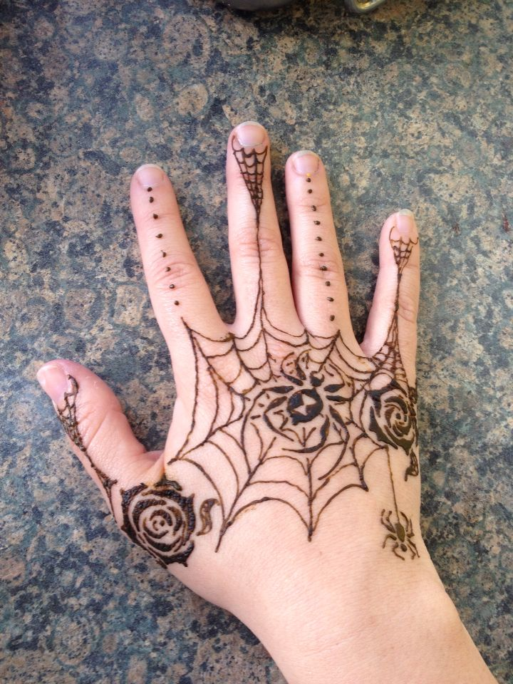 Spider web henna with two roses. One of my best works.