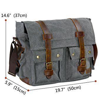 a88a01522726 Men s Messenger Bag Vintage Canvas Leather Military Shoulder Laptop Bag For  Gift