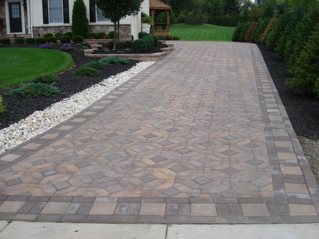 Beautiful Paver Driveway With Square Garden Pinterest