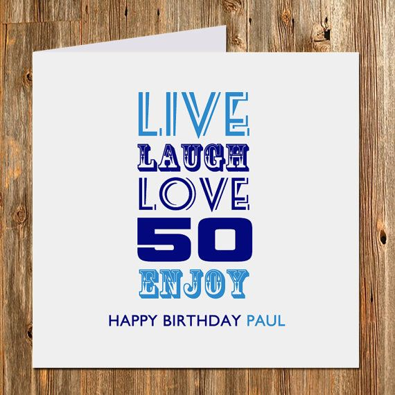 50th Birthday Gift Card Personalised By BlingPrints