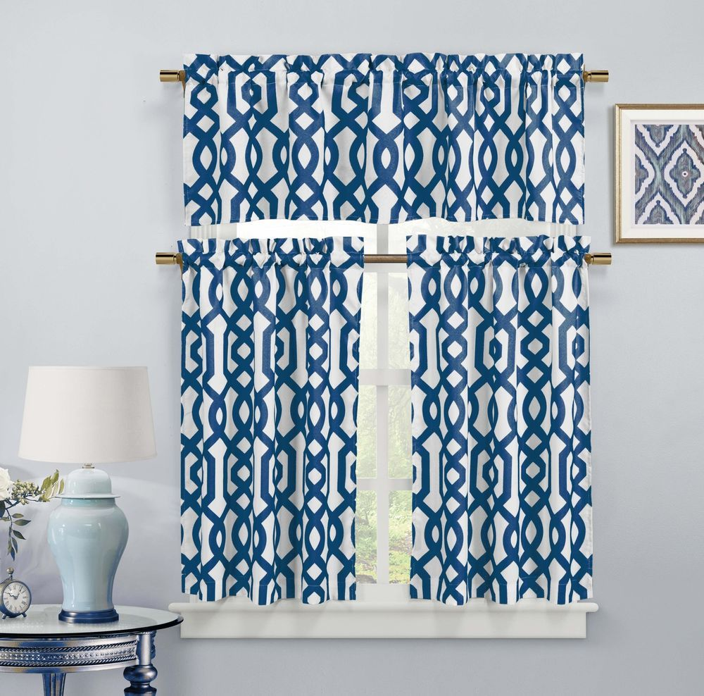 Premium Polycotton Kitchen Window Curtain Drapes Tier & Valance Set ...