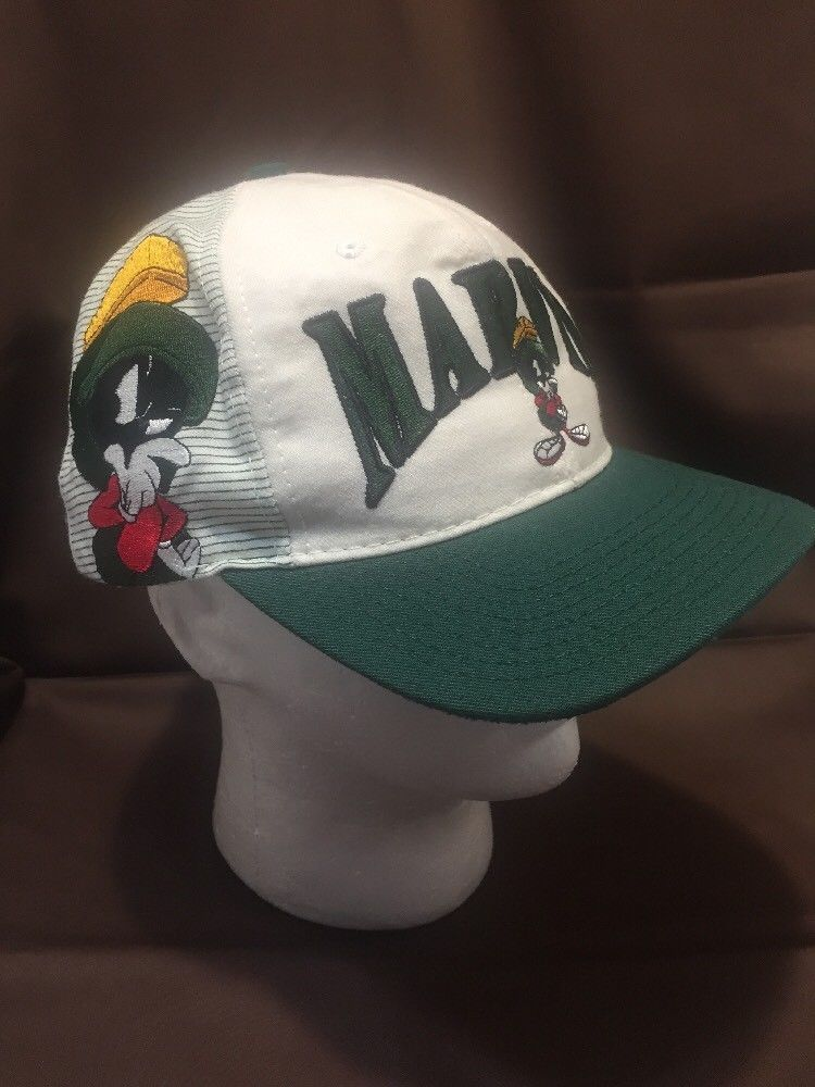 Vintage 1991 Marvin Martian Space Jam Hat Looney Tunes Cap Snapback White  USA 4c9973efe9