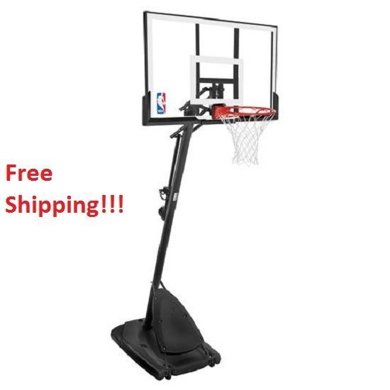 "Spalding 54"" Portable Basketball System Adjustable Hoop Backboard Net Pole Base #Spalding"