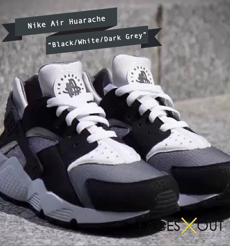 uk availability b75d9 657d7 Nike-Air-Huarache-Black-White-Dark-Grey