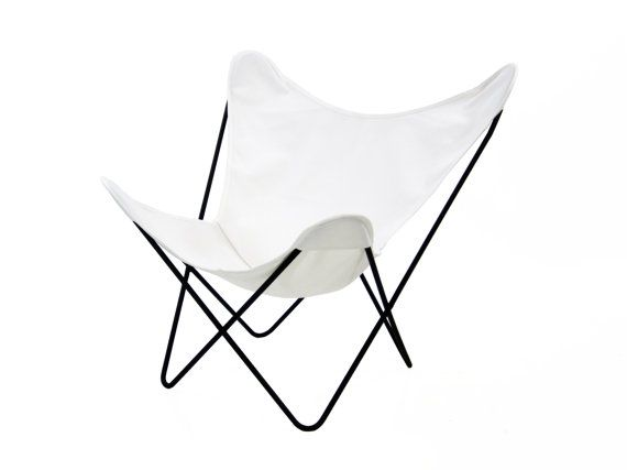RESERVED FOR USER Henben                   Vintage Knoll Hardoy Bkf Butterfly  Chair With White Canvas Sling