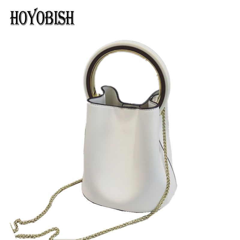 764cbe0a7154 HOYOBISH Famous Brands Design Circle Handle Handbags Women Bucket Bag 2017  Luxury Leather Chains Messenger Bags