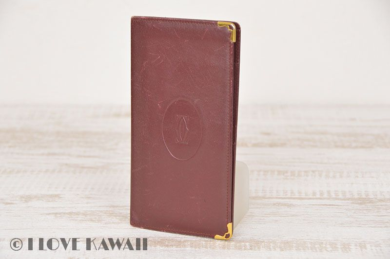 Cartier Gold Plated / Wine Leather Must Line Long Wallet