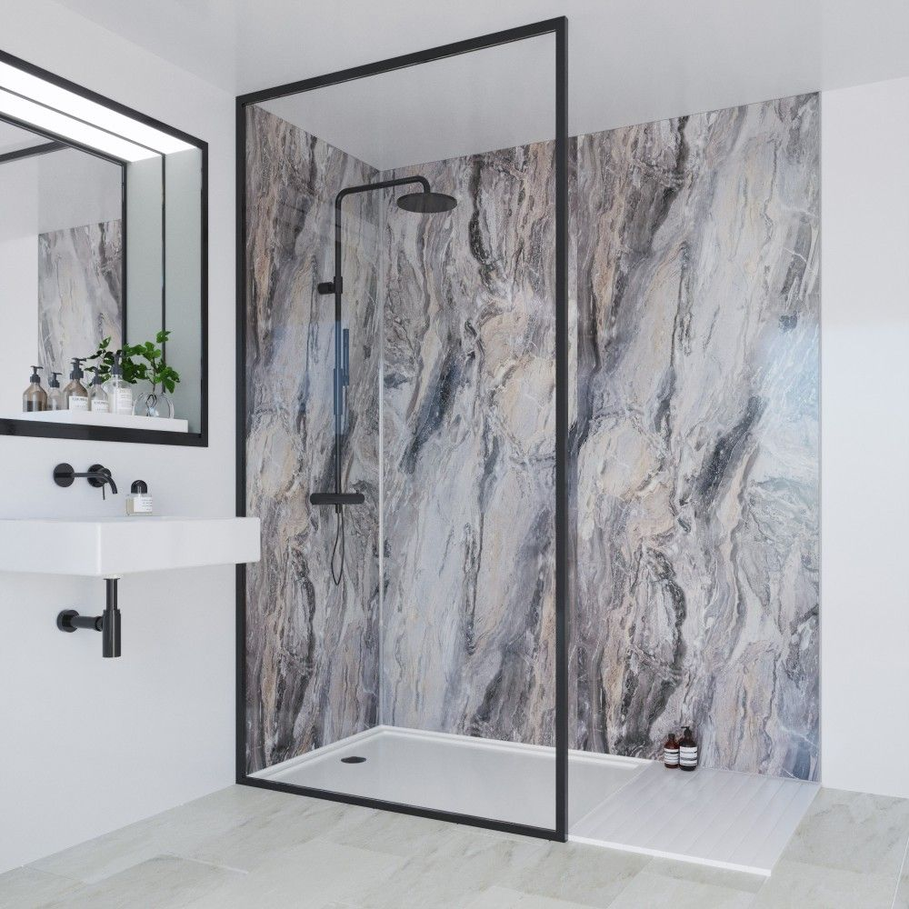 Cappuccino Stone Classic Collection Multi Panel Bathroom Wall Panels Classic Bathroom Shower Wall Panels