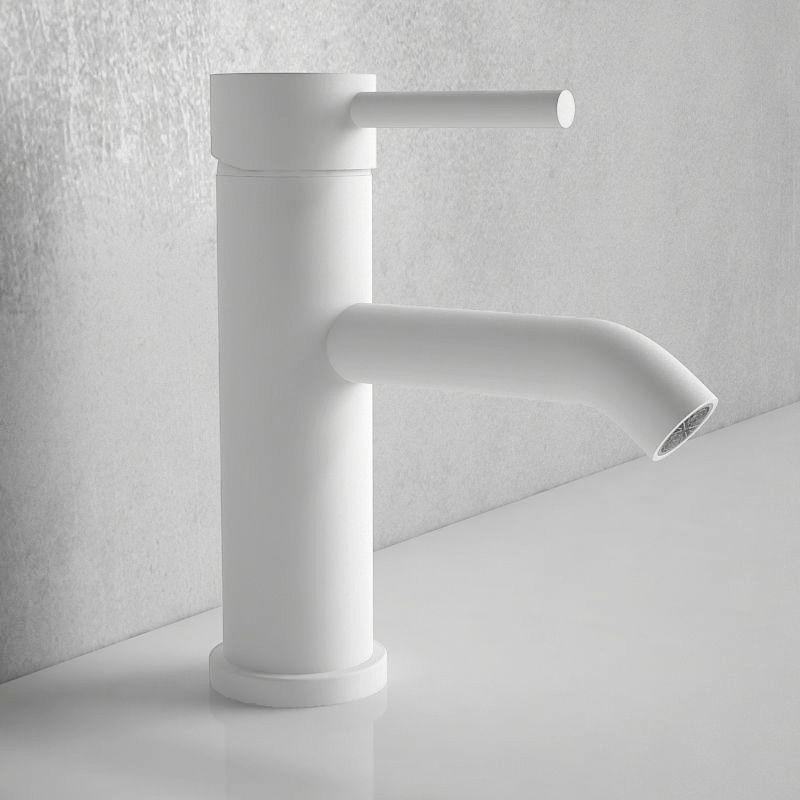 robinet mitigeur lavabo blanc mat