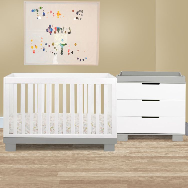 Babyletto 2 Piece Nursery Set Modo 3 In 1 Convertible Crib And Dresser Changer In Grey White Free Shippin White Crib Bedding White Crib Baby Changing Tables