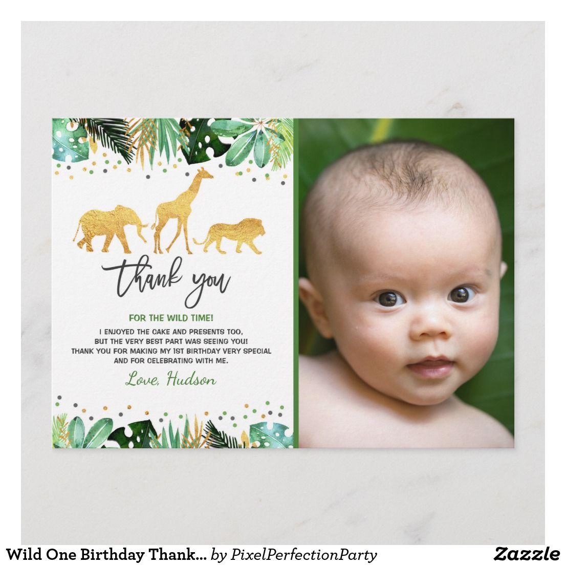 Wild One Birthday Thank You Card Jungle Animals Zazzle Com Birthday Thank You Cards Birthday Thank You Jungle Theme Birthday