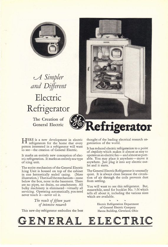 1927 GE Refrigerator Ad by CollectiblesbyGramps on Etsy, $3.70