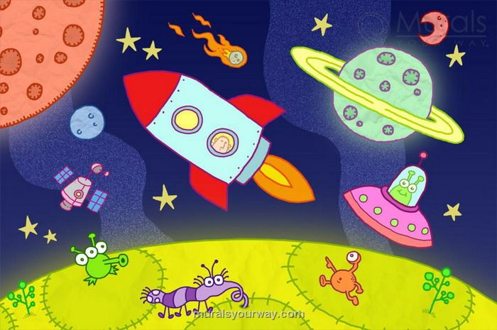 Cartoon Space Wall Mural