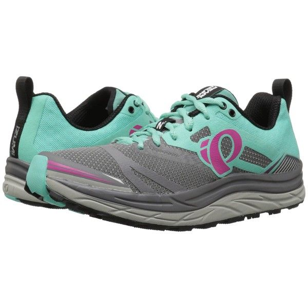 Pearl Izumi EM Trail N3 (Smoked Pearl/Aqua Mint) Women's Running Shoes (175 CAD) ❤ liked on Polyvore featuring shoes, athletic shoes, laced shoes, pearl izumi shoes, mint green shoes, pearl izumi and aqua blue shoes