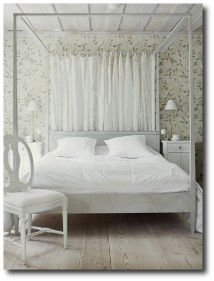 Fresh White Wood Canopy Bed  Inspiration