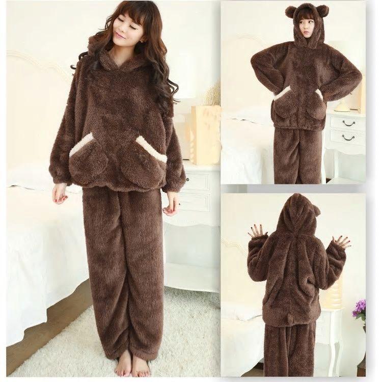 New Autumn Women Flannel Pajamas Set Coral Fleece Bear Hooded Pajamas  Sleepwear Solid Warm Thick Pyjamas Nightwear Homewear c30cc2b03