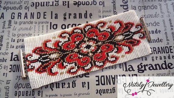 Rock white red bracelet Colorful wide ethnic bracelet Women elegant bracelet Boho seed beaded bracel