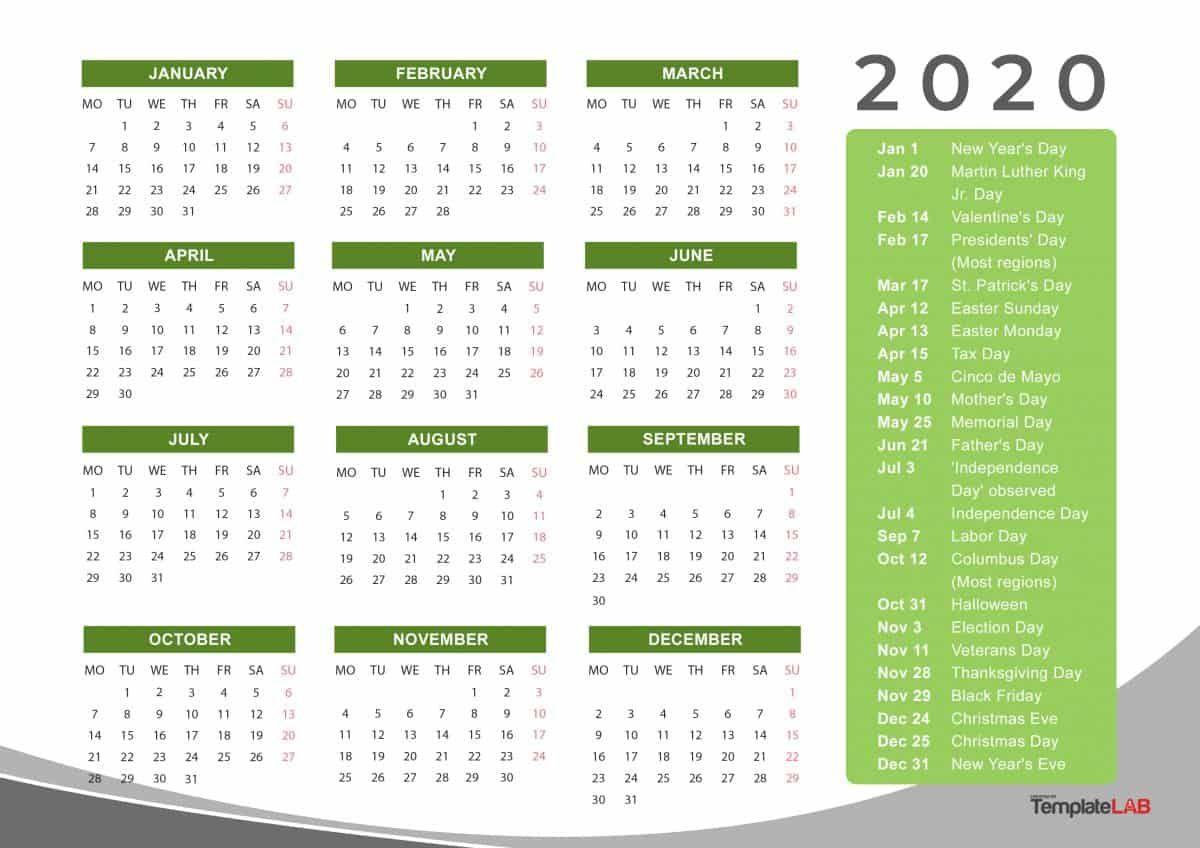 2020 Yearly Holidays Calendar Printable calendar