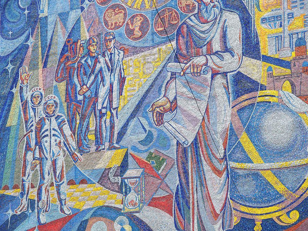 Kosmonauten und Arbeiter der Sowjetunion, vereinigt euch! Mosaik an einem Gebäude in der tadschikischen Hauptstadt Duschanbe.