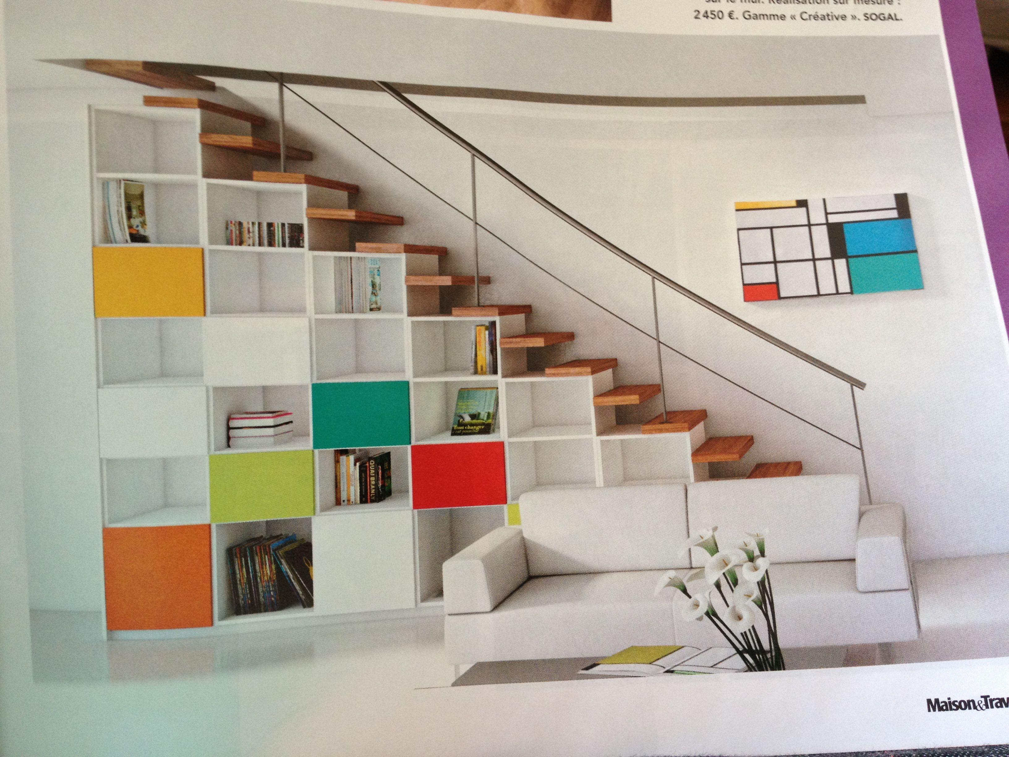 rangement sous escalier rangement pinterest mezzanine colorful living rooms and house. Black Bedroom Furniture Sets. Home Design Ideas