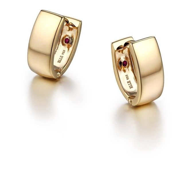 ELLE Jewelry - Classy Gold Plated Sterling Silver Huggie Earrings (130 AUD) ❤ liked on Polyvore featuring jewelry, earrings, polish jewelry, sterling silver jewelry, sterling silver earrings, earring jewelry and sterling silver jewellery