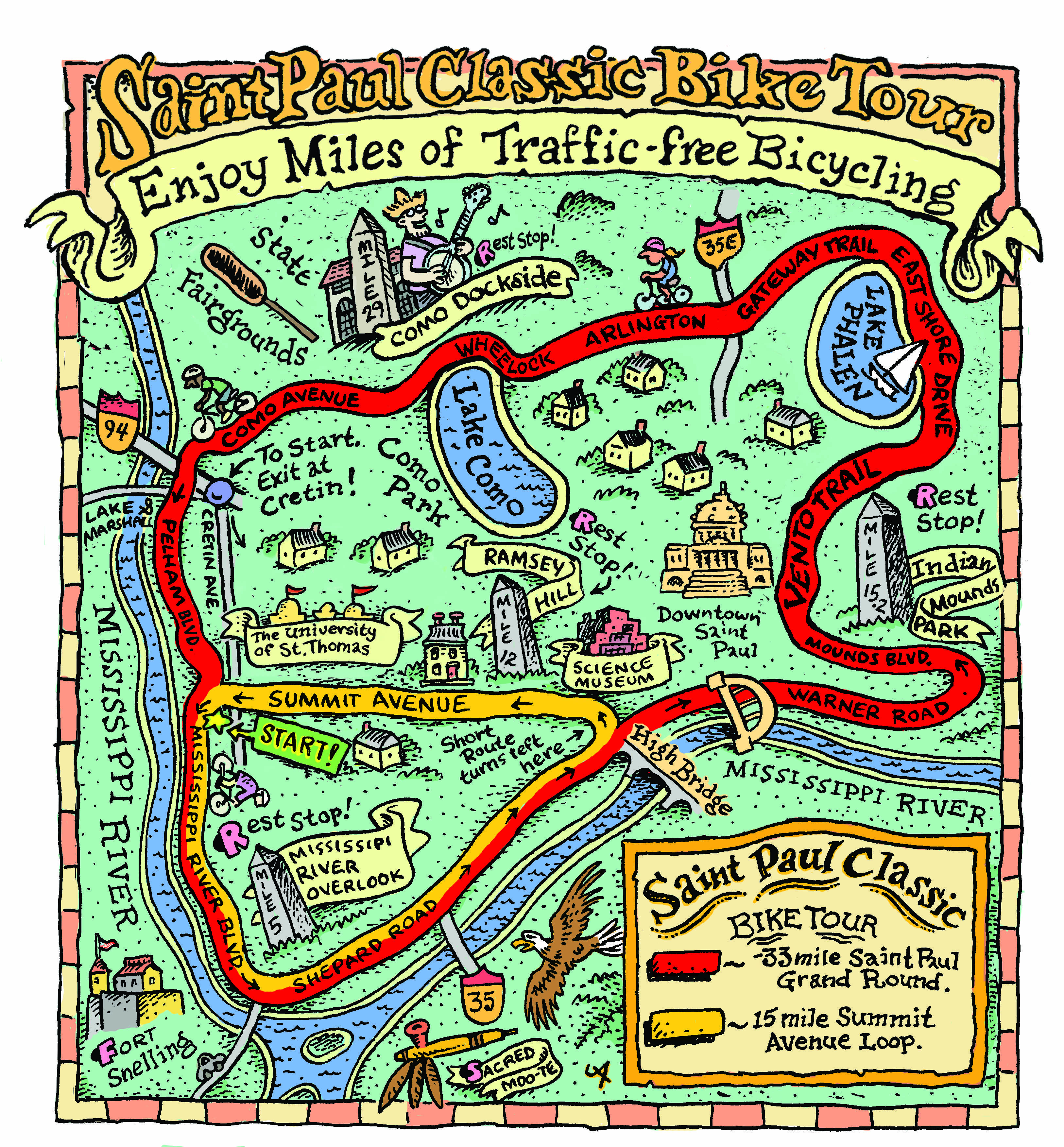St Paul Classic Bike Tour Route Map Mapping Pinterest Buckets