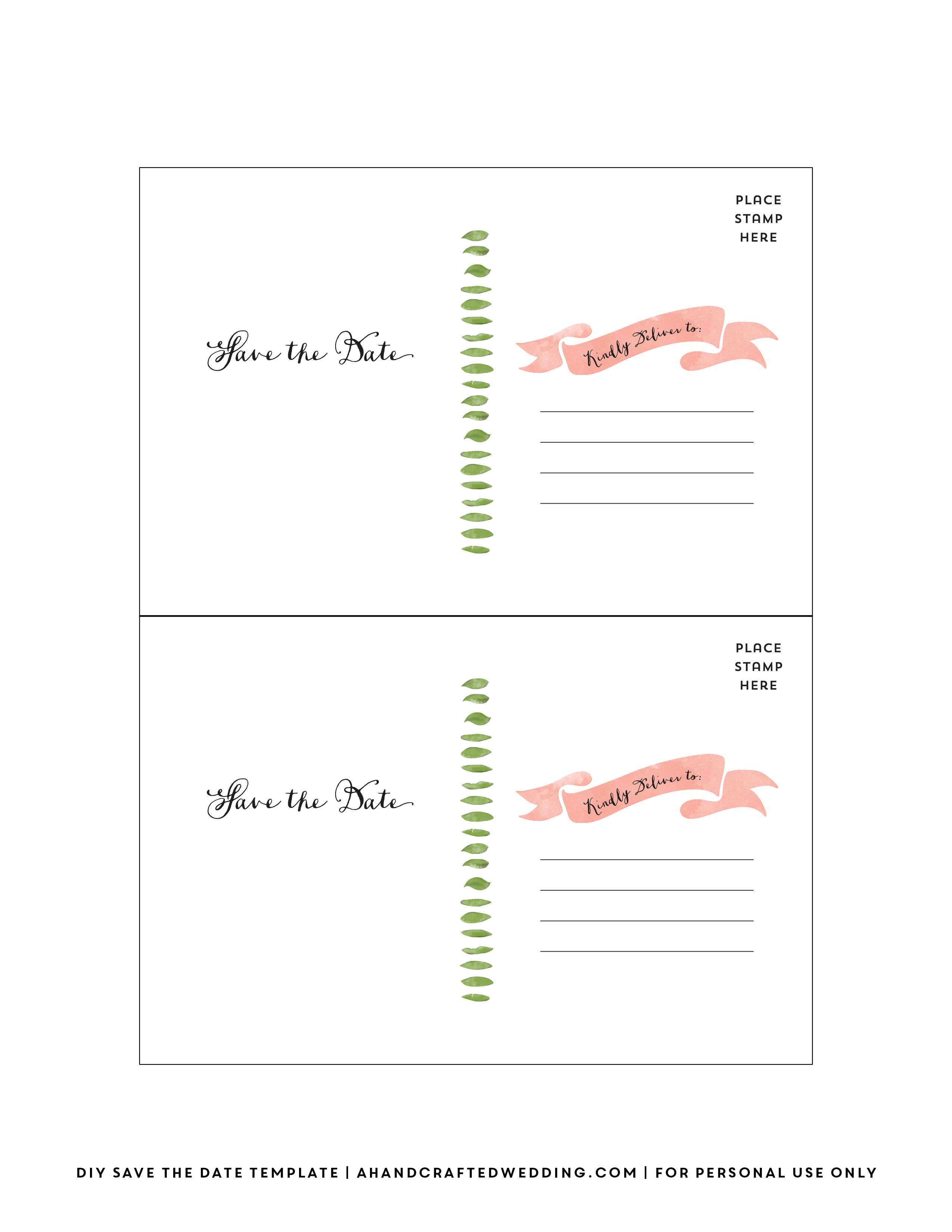 Templates Printable Free Postcards Postcard Template Save The Date