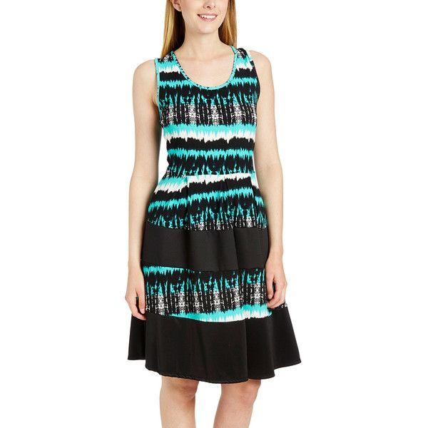 Dia Mint Tie-Dye Ruffle Peasant Dress ($12) ❤ liked on Polyvore featuring dresses