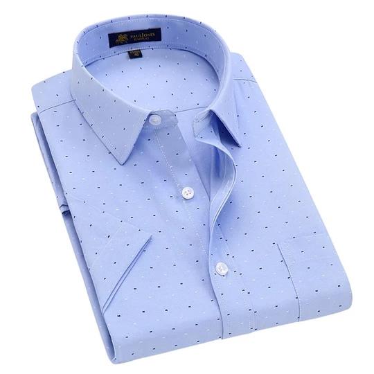 Men's Short Sleeve Regular-fit Oxford Print Dress Shirt with Front Pocket High-Qualityliligla #shortsleevedressshirts