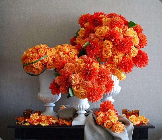 Orange Flower Arrangements For Weddings: A Trio Of Flaming Orange Flower Arrangements By Collage