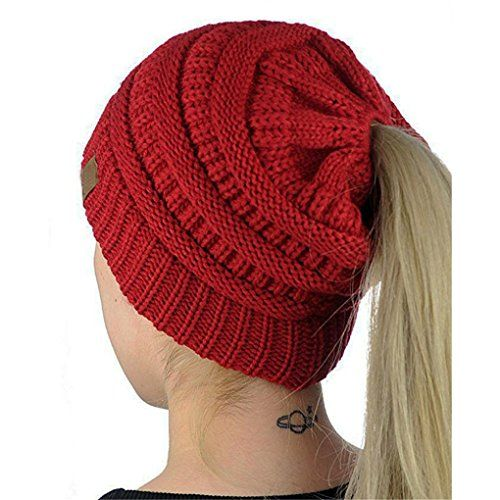 7b62ff427d6 Beanie Cap Skull Hat Horsetail Hat BinmerTM Baggy Warm Crochet Winter Wool  Knit Ski Hat for Women Ladies Wine Red   You can find more details by  visiting ...