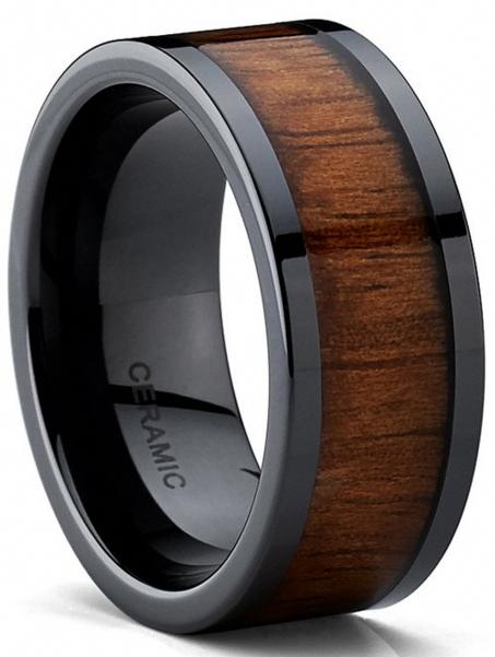 black titanium wood inlay mens ring giftsfromhertome