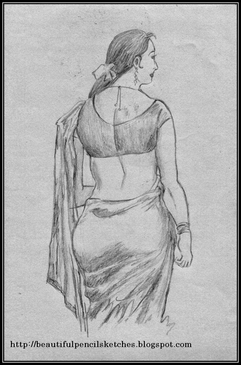 Beautiful pencil sketches pencil sketch of beautiful indian female figure in