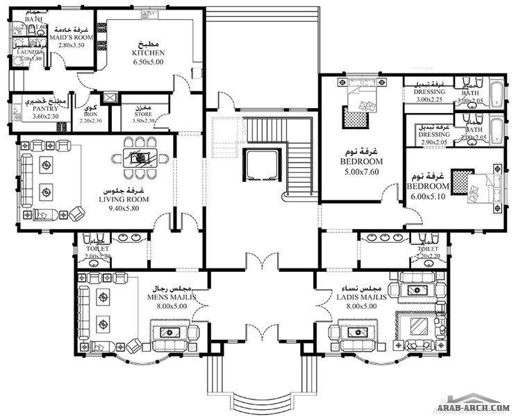 خرائط الفيلا 7 غرف 1 016 متر مربع طابقين سكن Model House Plan Square House Plans My House Plans
