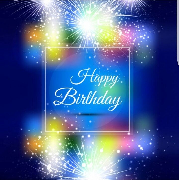 Outstanding Happy Birthday With White Fireworks And Blue Background Funny Birthday Cards Online Necthendildamsfinfo