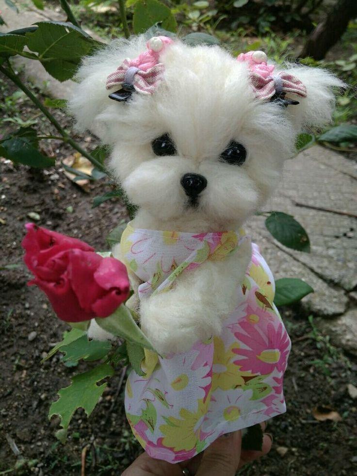 OOAK Needle felted Maltese puppy/dog + dog purse Maltese