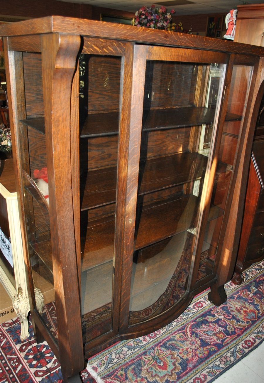 Fabulous Antique American Empire Bow Front China Cabinet Curio ...