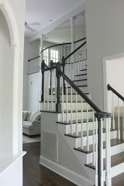 Benjamin Moore Wrought Iron Banister Staircase Makeover Benjamin Moore Wrought Iron Wrought Iron Banister