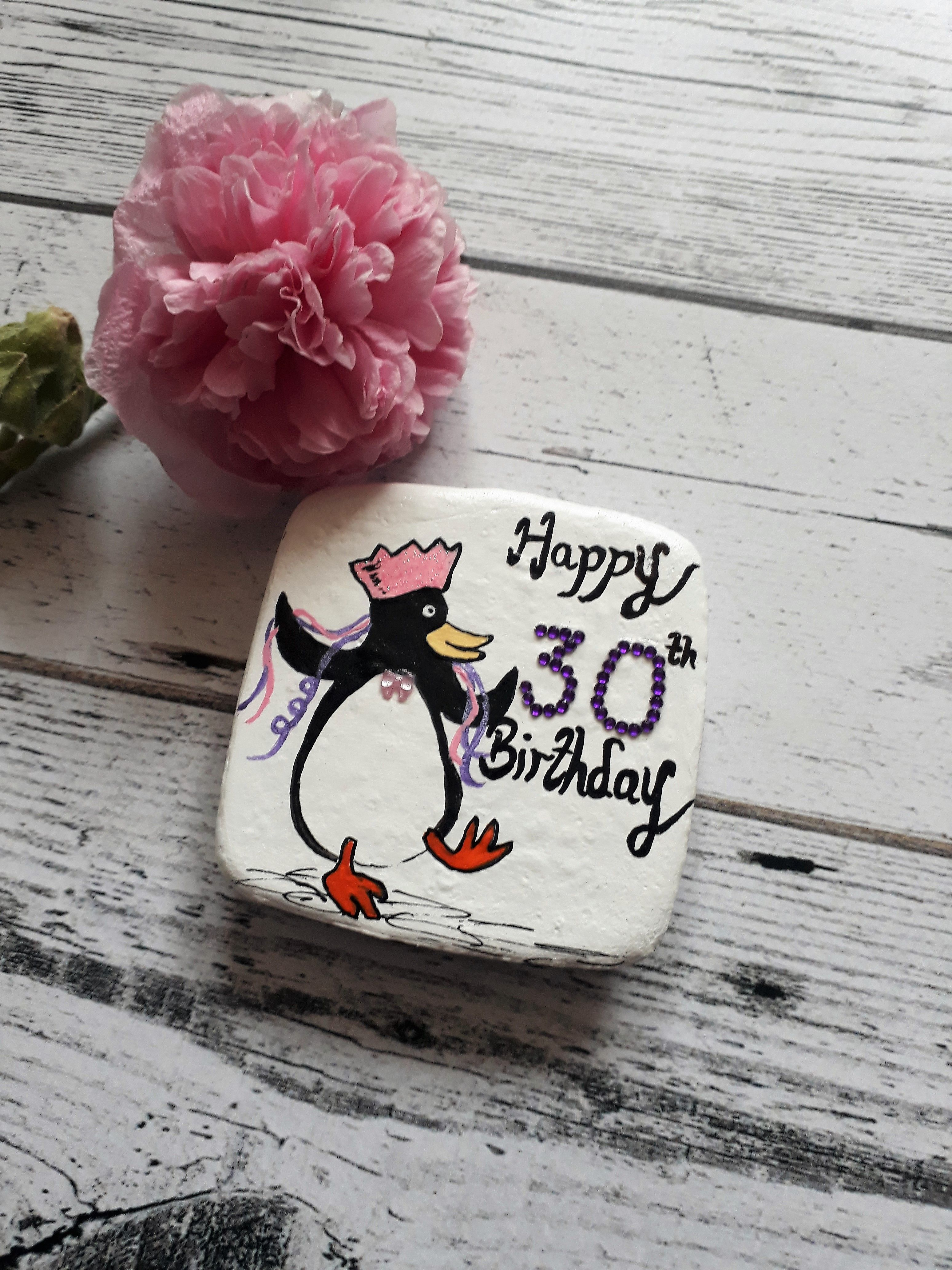 30th Birthday Pebble Magnet Gift For Her With A Partying Penguin