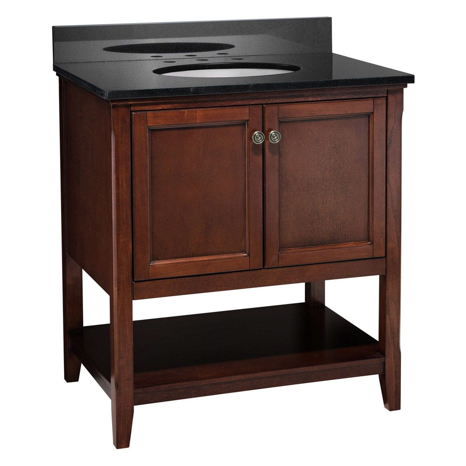 Traditional Style Solid Wood Bathroom Vanity In Chestnut Finish In
