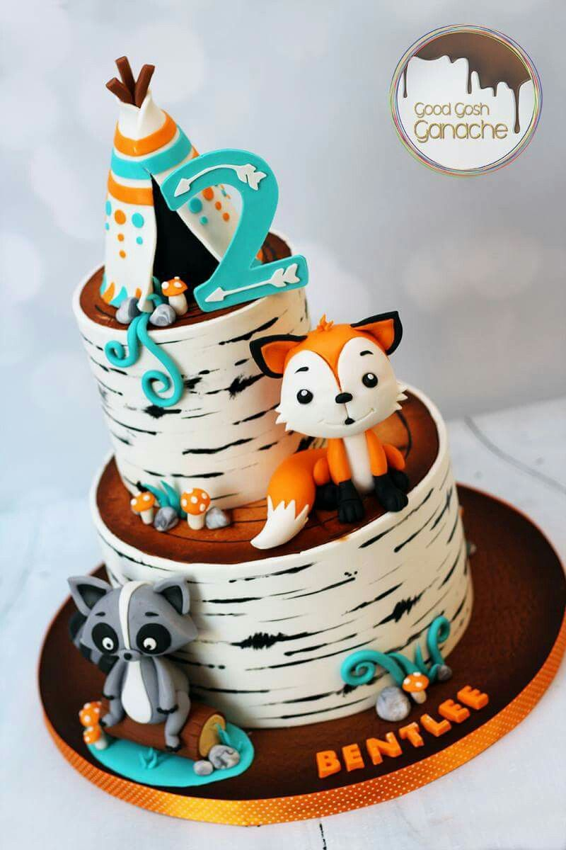 Pin De Lena Lutz En Cake Designs Woodland Birthday Party Pastel De Zorro Pastel De Bosque