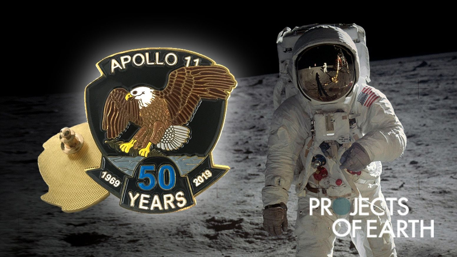 Apollo 11 50th anniversary pin moon dust buzz aldrin neil armstrong nasa space meteorite kickstarter